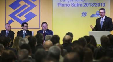 O ministro da Fazenda, Eduardo Guardia, discursa no lançamento do Plano Safra 2018/2019 do Banco do Brasil.
